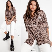 STUSSY Leopard Patterns Casual Style Unisex Long Sleeves Cotton