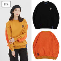 ROMANTIC CROWN Crew Neck Cable Knit Unisex Sweat Blended Fabrics