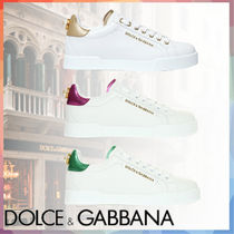 Dolce & Gabbana Casual Style Plain Leather Logo Low-Top Sneakers