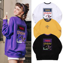 WV PROJECT Crew Neck Unisex Street Style Long Sleeves Plain Cotton