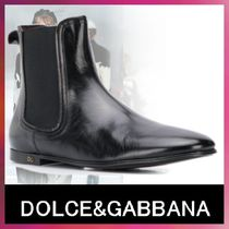Dolce & Gabbana Unisex Street Style Plain Leather Engineer Boots
