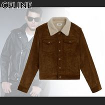 CELINE Short Bi-color Plain Denim Jackets Shearling Front Button