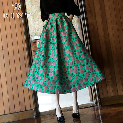 Flared Skirts Flower Patterns Dots Casual Style Street Style