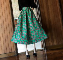 DINT Flared Skirts Flower Patterns Dots Casual Style Street Style