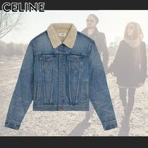 CELINE Short Denim Bi-color Plain Denim Jackets Shearling