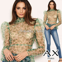 AXPARIS Puffed Sleeves Long Sleeves Party Style Shirts & Blouses
