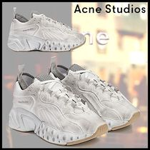 Ance Studios Round Toe Rubber Sole Lace-up Casual Style Blended Fabrics