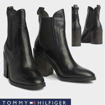 Tommy Hilfiger Platform Round Toe Casual Style Studded Plain Leather