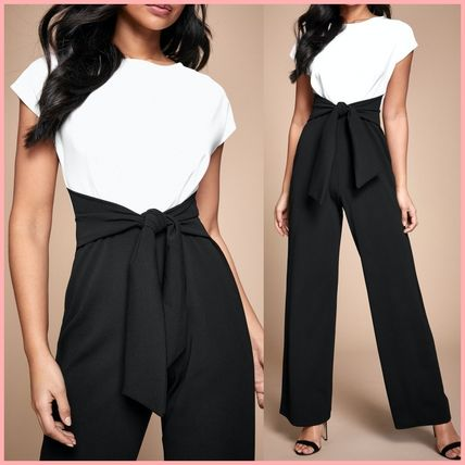 Crew Neck Casual Style A-line Bi-color Long Short Sleeves