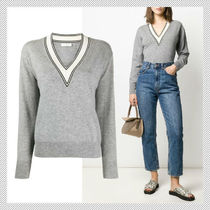 sandro Casual Style Wool Cashmere V-Neck Long Sleeves Plain