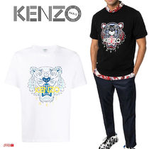 KENZO Crew Neck Cotton Short Sleeves Logo Crew Neck T-Shirts