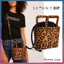 SKINNYDIP Leopard Patterns Casual Style 2WAY Elegant Style Totes