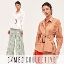 Cameo the Label Casual Style Long Sleeves Plain Cotton Medium Office Style