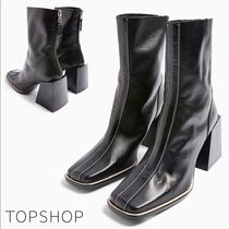 TOPSHOP Square Toe Casual Style Leather Block Heels Office Style
