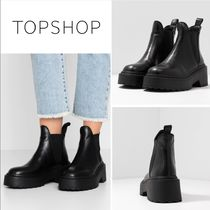 TOPSHOP Platform Casual Style Plain Leather Ankle & Booties Boots