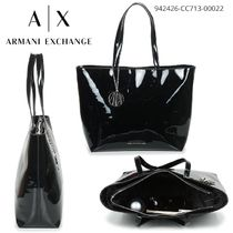 A/X Armani Exchange Monogram Casual Style Blended Fabrics A4 Plain Office Style