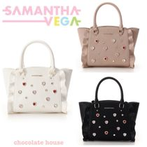 Samantha Thavasa Faux Fur Collaboration 2WAY Plain Elegant Style Totes