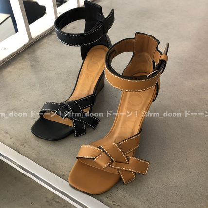 Open Toe Plain Leather Platform & Wedge Sandals
