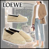 LOEWE Round Toe Casual Style Suede Blended Fabrics Plain Leather