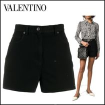 VALENTINO Short Casual Style Leather Cotton