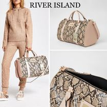 River Island Unisex Faux Fur A4 2WAY Python Oversized Crossbody Logo