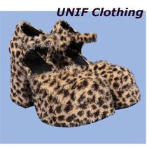 UNIF Clothing Leopard Patterns Platform Casual Style Plain Block Heels