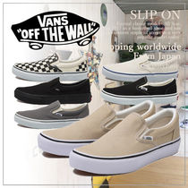 VANS Casual Style Unisex Plain Logo Slip-On Shoes