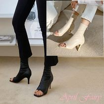 Open Toe Faux Fur Plain Pin Heels Ankle & Booties Boots