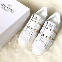 VALENTINO Round Toe Rubber Sole Lace-up Casual Style Blended Fabrics