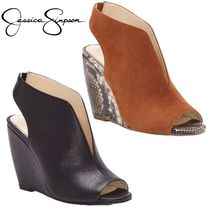 Jessica Simpson Open Toe Casual Style Plain Leather Party Style