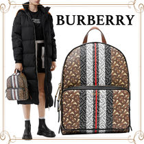 Burberry Monogram Unisex Canvas Suede A4 Leather Logo Backpacks