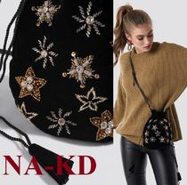 NA-KD Star Casual Style Blended Fabrics With Jewels Shoulder Bags