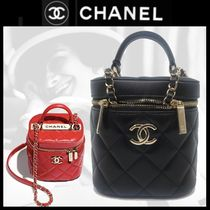 CHANEL ICON Casual Style Blended Fabrics Vanity Bags 2WAY Plain
