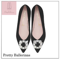 Pretty Ballerinas Suede With Jewels Ballet Shoes