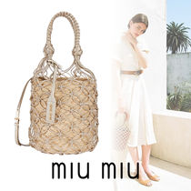 MiuMiu Leather Straw Bags