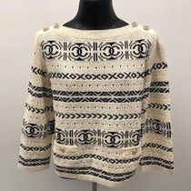 CHANEL ICON Cable Knit Casual Style Boat Neck Long Sleeves Plain Cotton