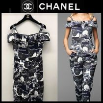 CHANEL ICON Dungarees Flower Patterns Casual Style Plain Long