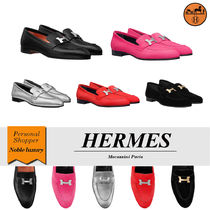 HERMES Casual Style Velvet Plain Leather Party Style Office Style