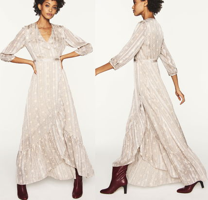 Wrap Dresses Casual Style Maxi V-Neck Long Party Style