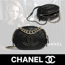 CHANEL Casual Style Unisex Lambskin Studded 2WAY Chain Plain