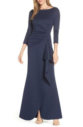 Maxi Boat Neck Cropped Plain Long Dresses