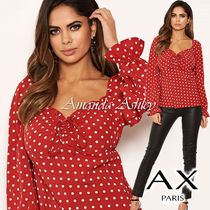 AXPARIS Dots Casual Style Long Sleeves Medium Party Style