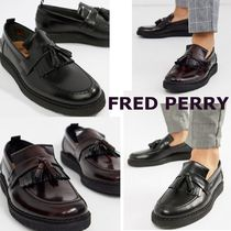 FRED PERRY Plain Toe Loafers Unisex Street Style Plain Leather