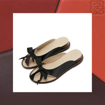 LOEWE Open Toe Tassel Plain Leather Platform & Wedge Sandals
