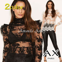 AXPARIS Flower Patterns Puffed Sleeves Long Sleeves Party Style