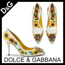 Dolce & Gabbana Flower Patterns Leather Pin Heels With Jewels