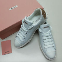 MiuMiu Casual Style Plain Leather Glitter Low-Top Sneakers