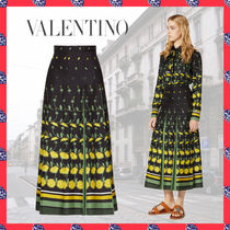 VALENTINO Flower Patterns Casual Style Silk Long Party Style Bridal