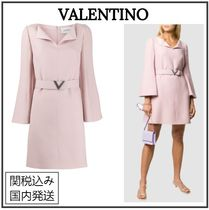 VALENTINO Short Wool Silk Flared V-Neck Long Sleeves Plain Party Style