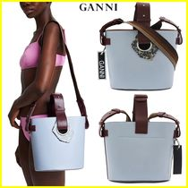Ganni Casual Style A4 2WAY Plain Leather Elegant Style Totes